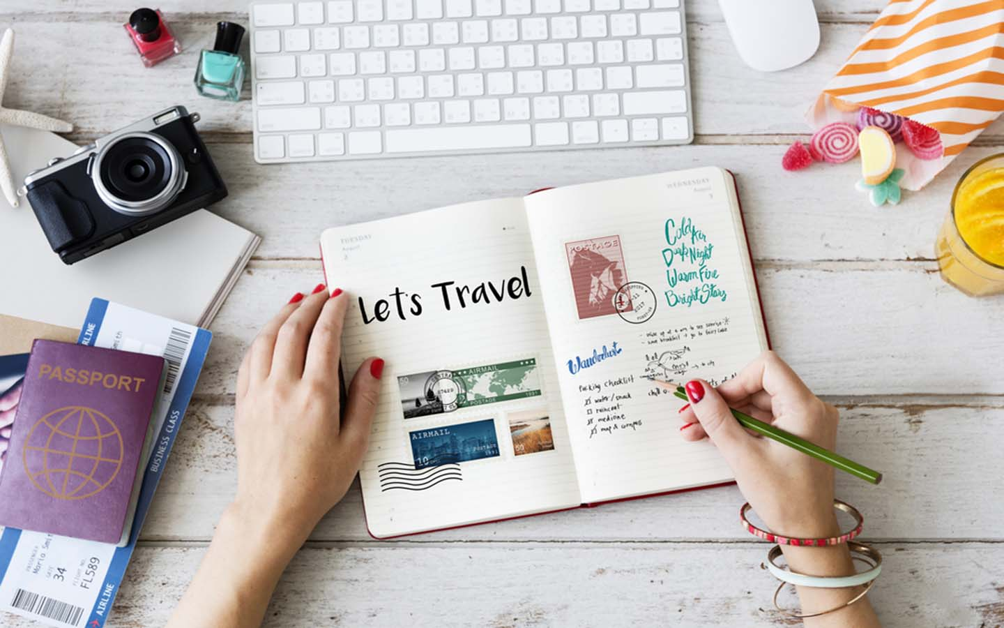 woman with a travel journal
