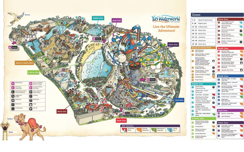 Park map for Yas Waterworld Abu Dhabi