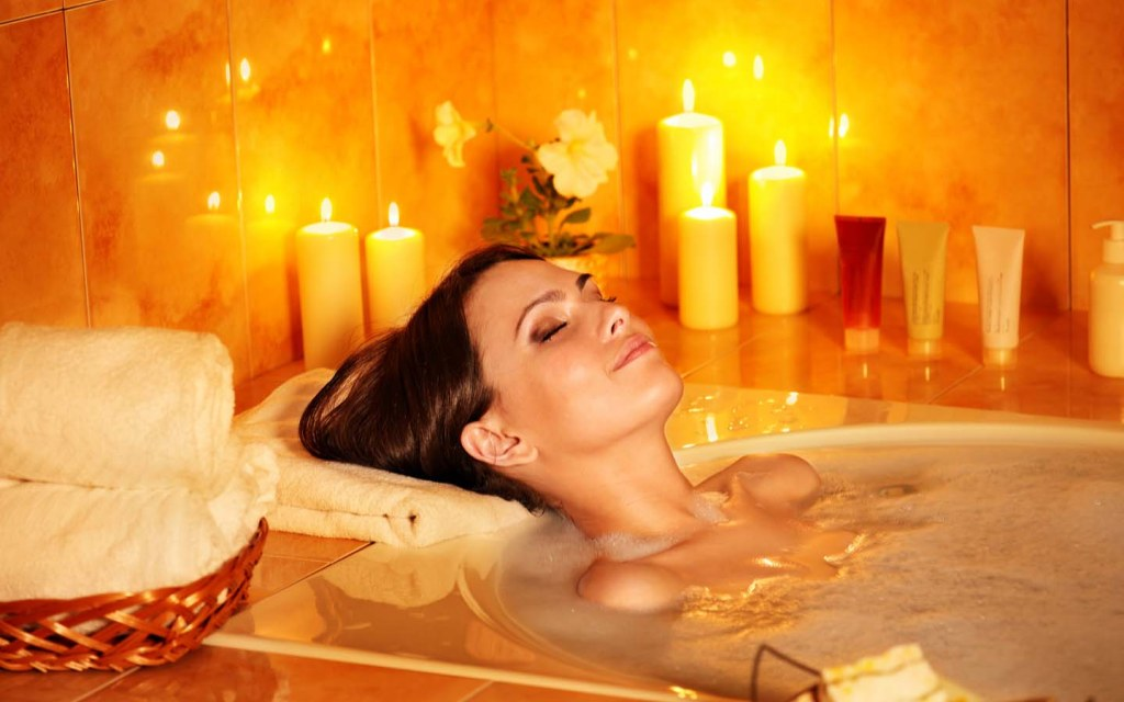 Woman in a bath, spa concept